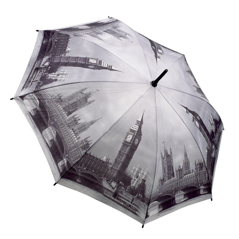 "Soake – Galleria Black & White "" London "" Folding Automatic Umbrella"