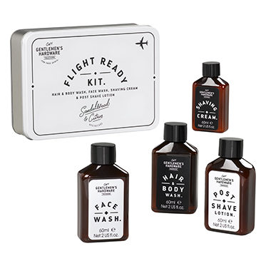Gentlemen's Hardware – Flight Ready Travel Grooming Kit in Metal Gift Tin
