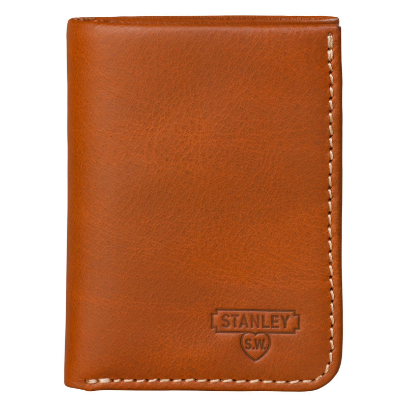 Stanley Tools – Tan Tri-Fold Leather Wallet in Silver Metal Presentation Tin