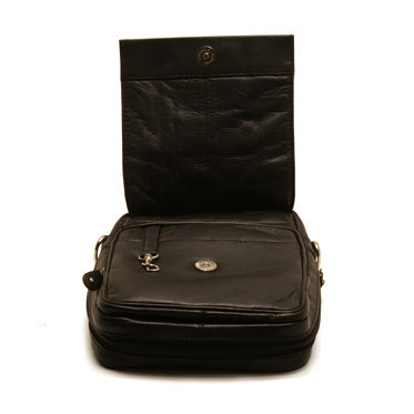 Rowallan – Black Conquest Travel Organiser in Soft Cowhide Grain Leather