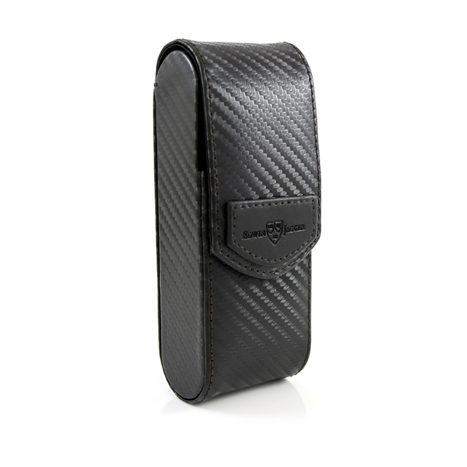 Edwin Jagger – Black Carbon Fibre Effect Textured Razor Travel Case in Gift Box
