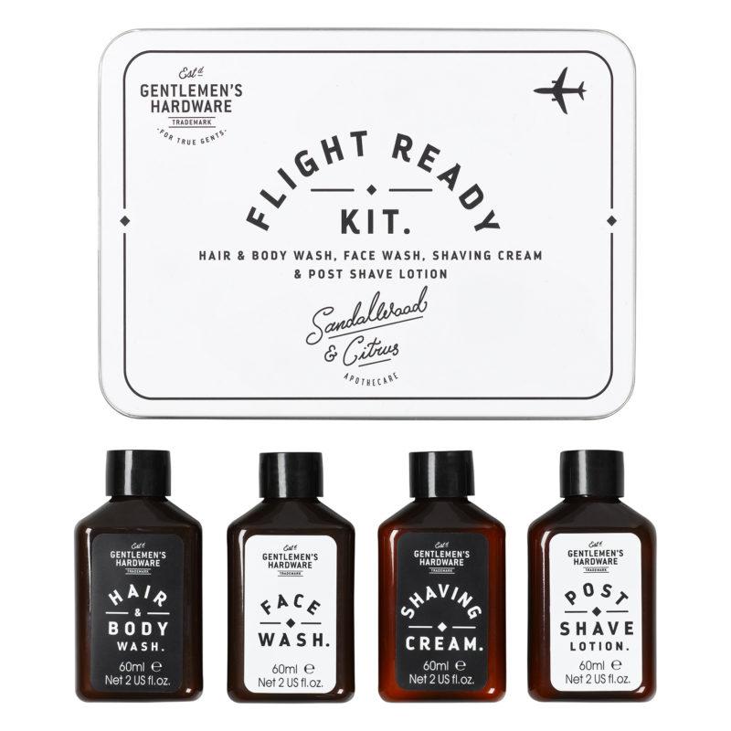 Gentlemen's Hardware – Flight Ready Travel Grooming Kit in Metal Gift Tin