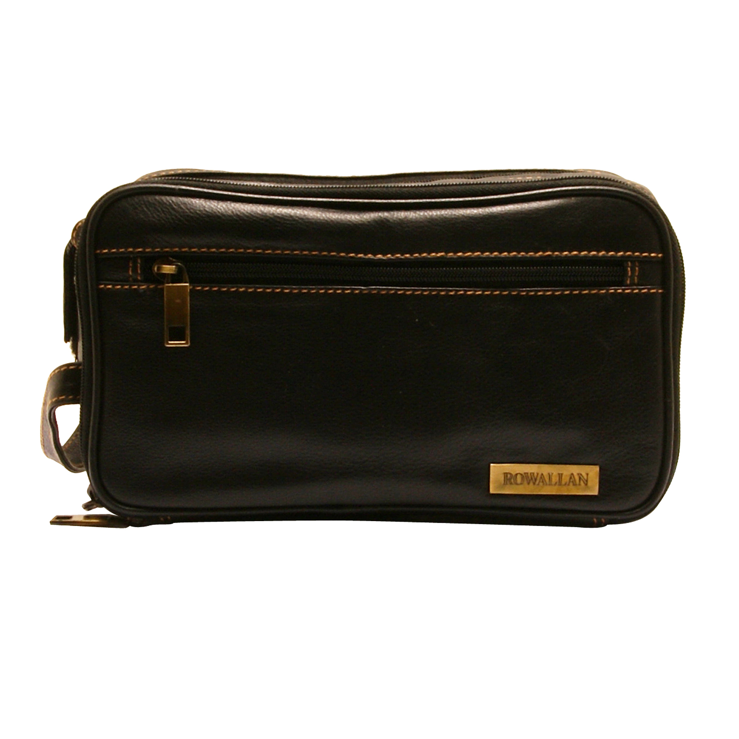Rowallan – Black Double Zip Buchanan Soft Cowhide Leather Wash Bag