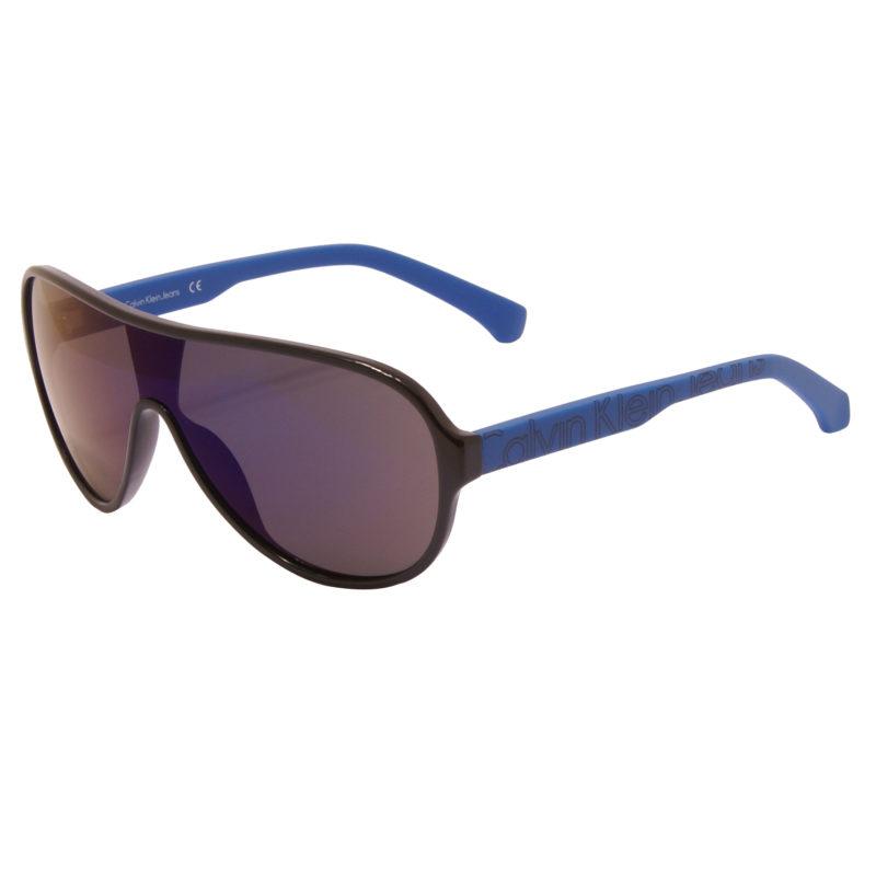 Calvin Klein CKJ – Black/Blue Visor Style Sunglasses with Case