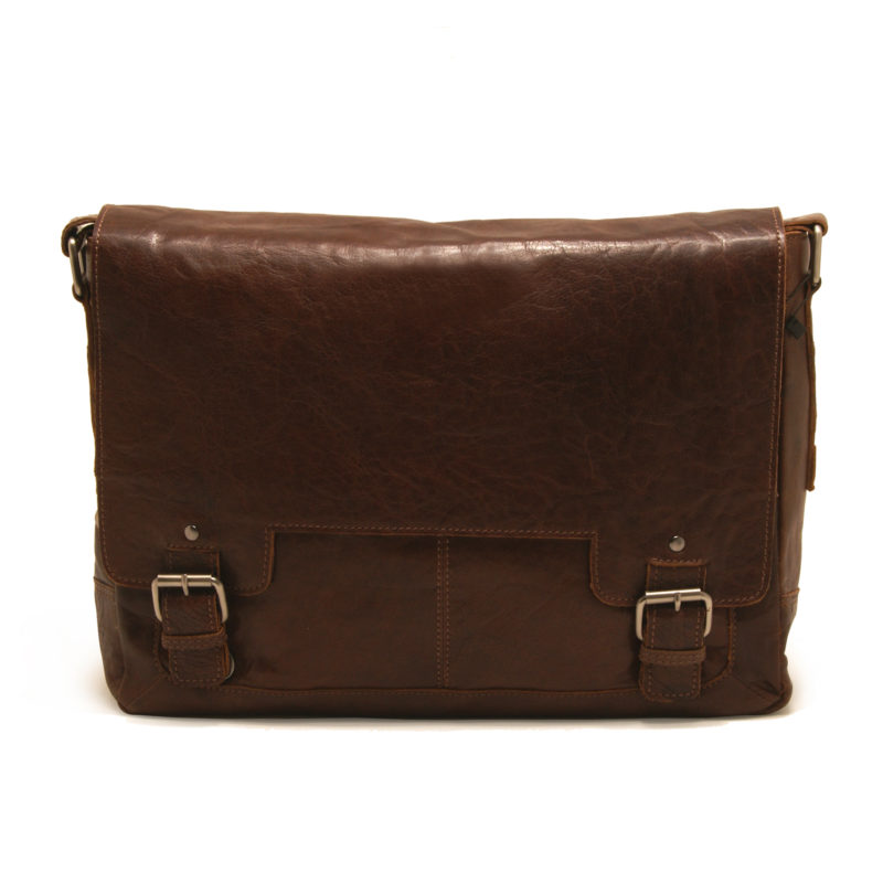 Ashwood – Tan Crumble Leather Kingston Messenger Laptop Bag