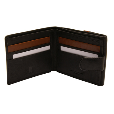 Rowallan – Black Full Grain Soft Cowhide Leather Billfold Wallet with Coin Purse