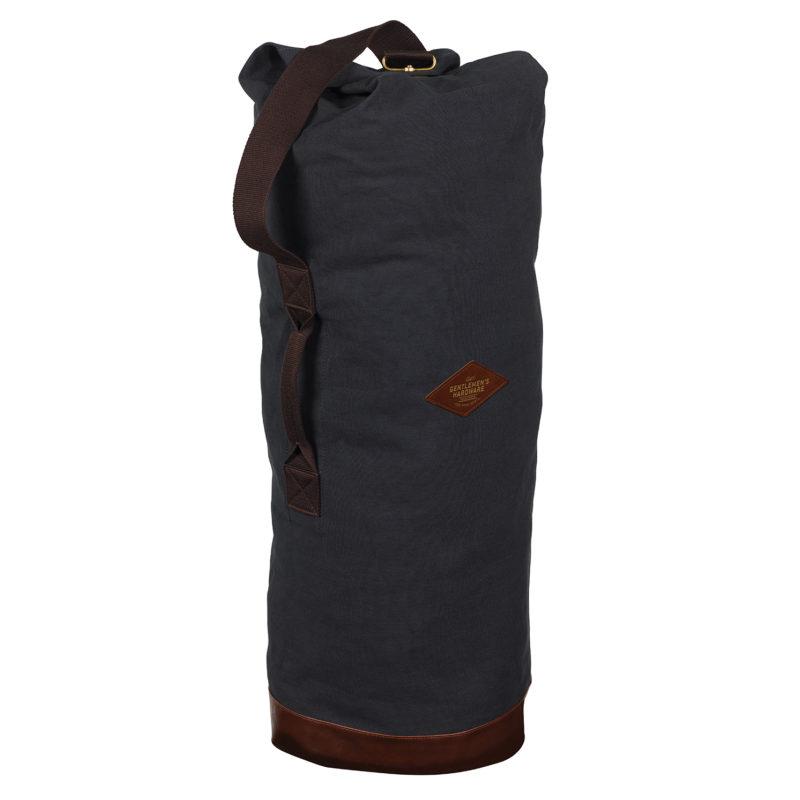 Gentlemen's Hardware – Blue Canvas Duffle Bag with Brown Shoulder Strap
