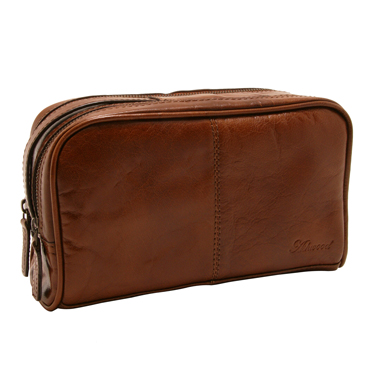 Ashwood – Chestnut Brown Dual Zip Chelsea Wash Bag in Veg Tanned Buffalo Leather