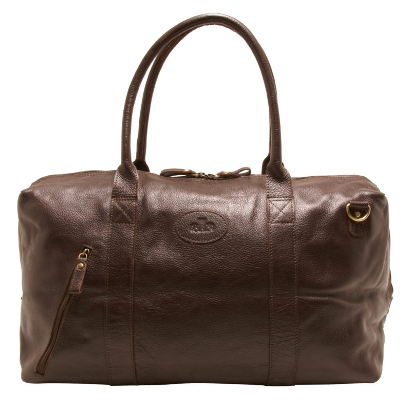 Rowallan – Brown Grained Cowhide Leather Travel Bag/Holdall with Shoulder Strap