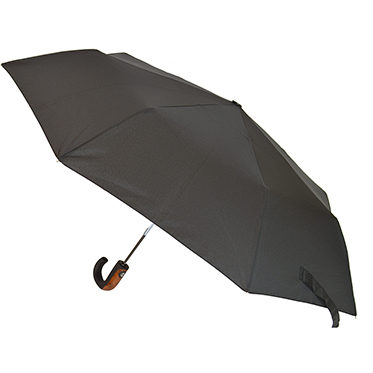 Soake – Black Automatic Folding Compact Umbrella with Wood Effect & Matt Hook Handle