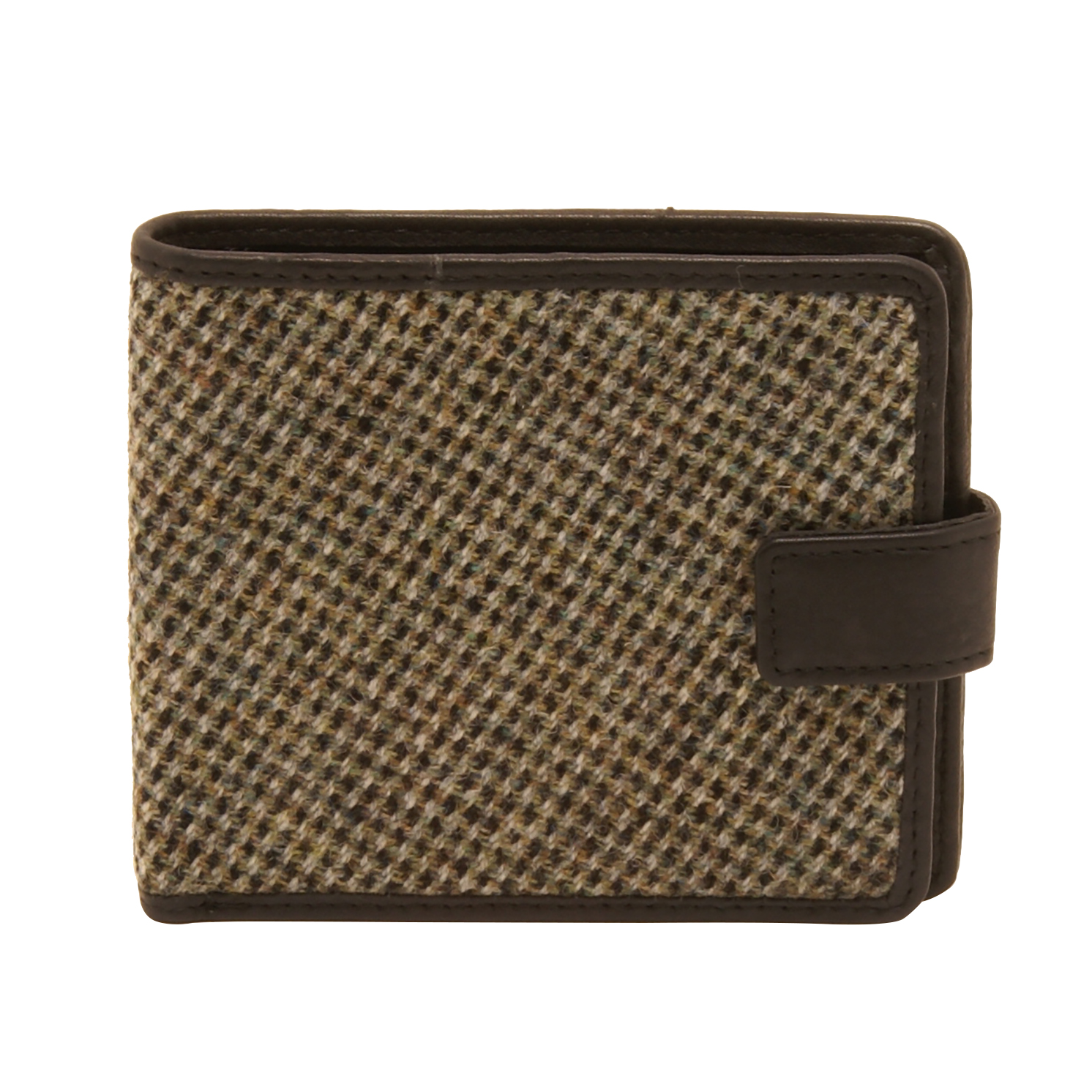 PellMell – Black and Green Islay Tweed Classic Card Wallet with Black Leather Trim