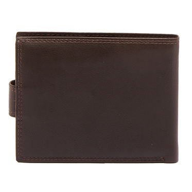 Hansson – Brown Leather Nevada Billfold Wallet with Coin Purse and Tab Closure