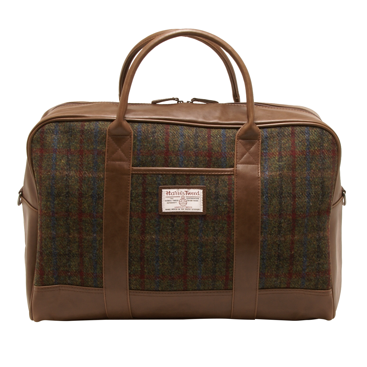 The British Bag Company – Green & Red Harris Tweed Breanais Travel Bag/Holdall