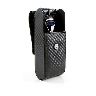 Edwin Jagger – Black Carbon Fibre Effect Textured Razor Travel Case in Gift Box