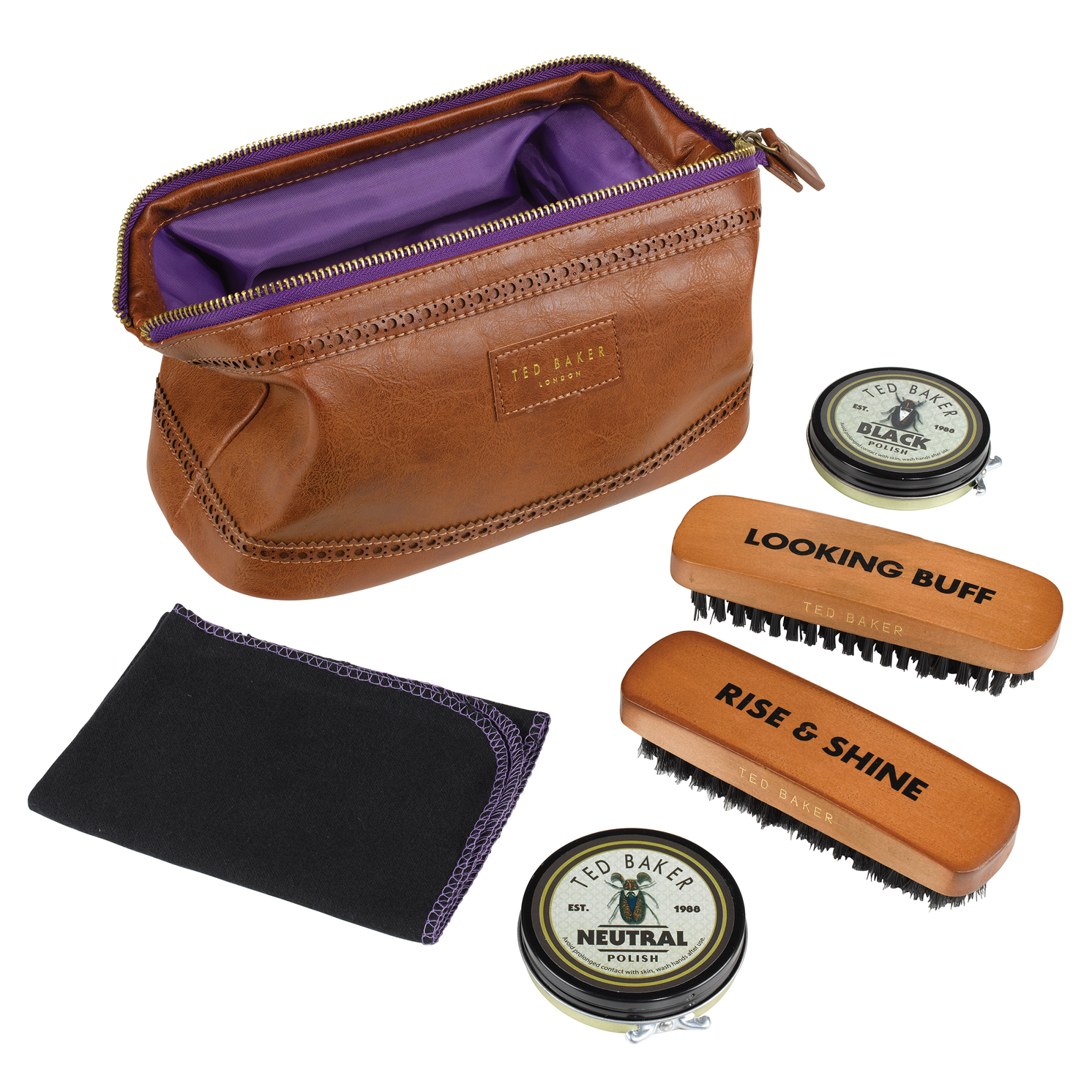 Ted Baker – 5 Piece Shoe Shine Kit in Brown Brogue Faux Leather Case