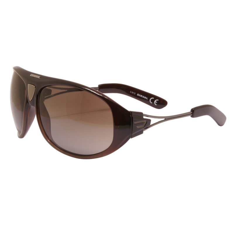 Diesel – Shiny Brown Gradient Aviator Style Sunglasses with Case
