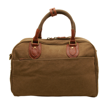 Troop London – Small Brown Classic Travel Holdall in Canvas-Leather