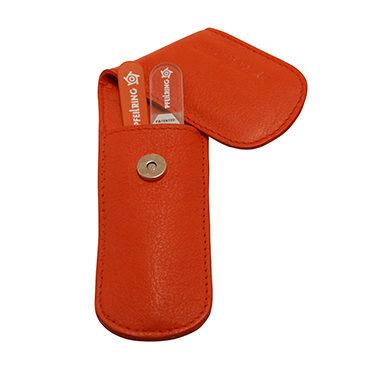 Pfeilring – 2 Piece Pocket Manicure Set in Orange Nappa Leather Case