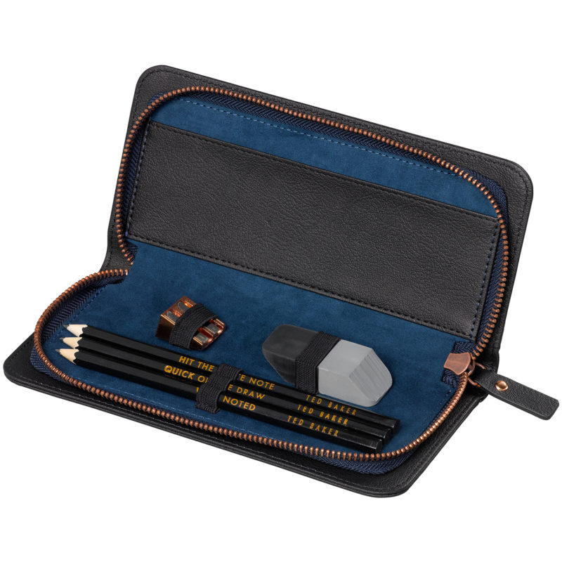 Ted Baker – Black Brogue Voyager's Pencil Set in Case