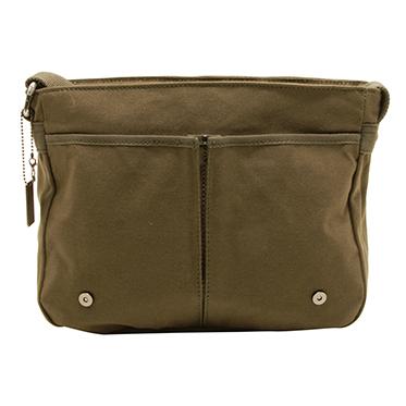 Troop London – Olive Green Canvas Heritage Messenger Bag with Leather Trim
