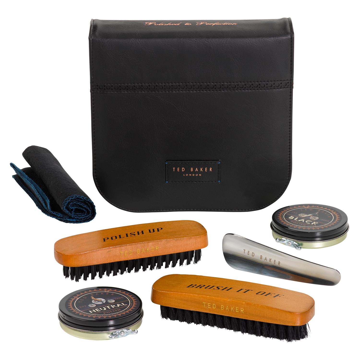 Ted Baker – Black Brogue Shoe Shine Kit in Zip Around Case