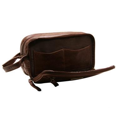 Rowallan – Cognac Three Section Veg Tanned Buffalo Leather Verona Wash Bag