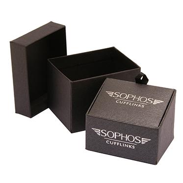 Sophos – Black Stripe Square Cufflinks in Gift Box