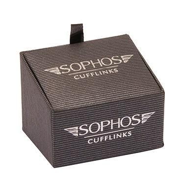 Sophos – Brushed Silver Cufflinks with Black Enamel Stripes in Gift Box