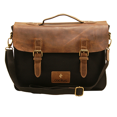 Cactus – Satchel Style Messenger Bag with Brown Leather Flap in Black Canvas