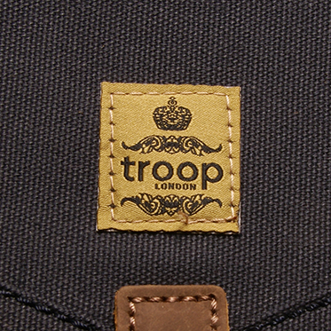 Troop London – Navy Blue & Camel Canvas Heritage Messenger Bag with Leather Trim