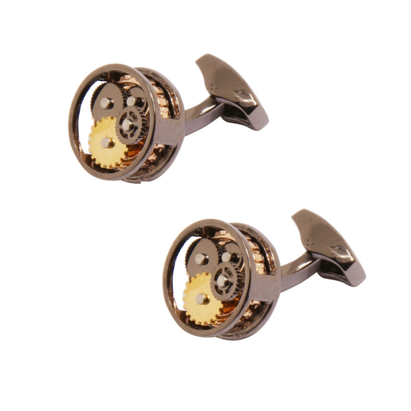 Sophos – Gunmetal Watch Design Round Cufflinks in Gift Box