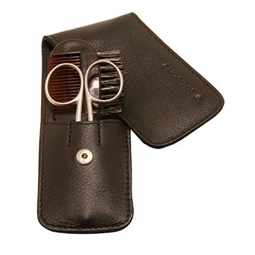 Pfeilring – Moustache & Beard Grooming Set in Black Nappa Leather Case