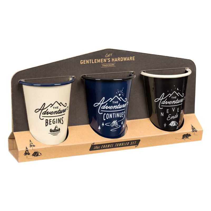 Gentlemen's Hardware – Set of 3 Enamel Tumblers in Cardboard Sleeve