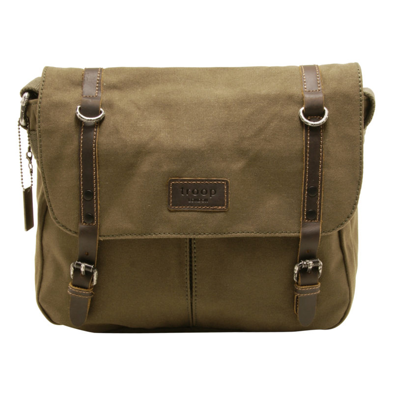Troop London – Olive Green Canvas Heritage Messenger Bag with Leather Trim