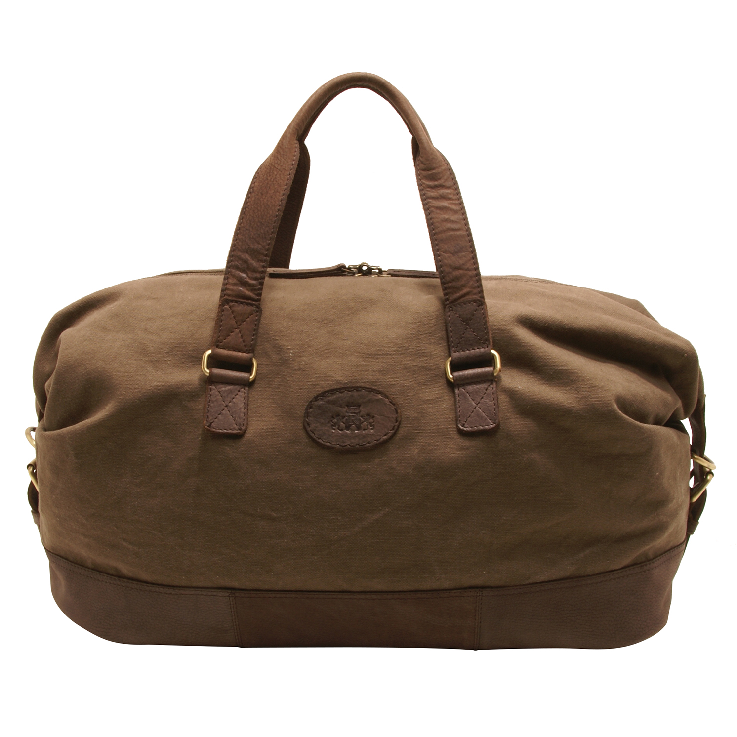 Rowallan – Khaki Canvas Travel Holdall with Leather Trim and Shoulder Strap