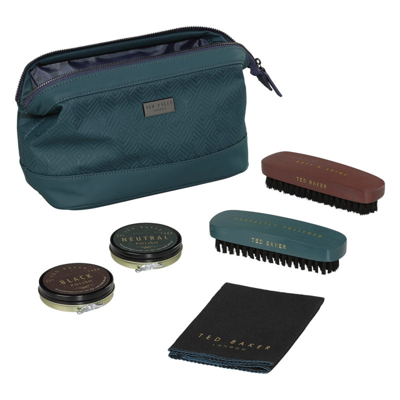 Ted Baker – 5 Piece Shoe Shine Kit in Teal Green Zip Case