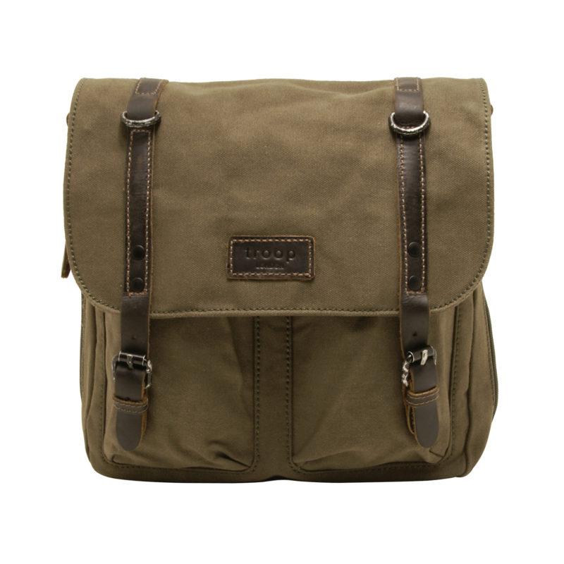 Troop London – Olive Green Canvas Heritage Messenger/Satchel Bag with Leather Trim