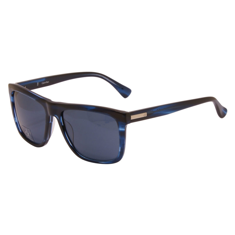 Calvin Klein CK – Blue Marble Classic Rectangular Sunglasses with Case