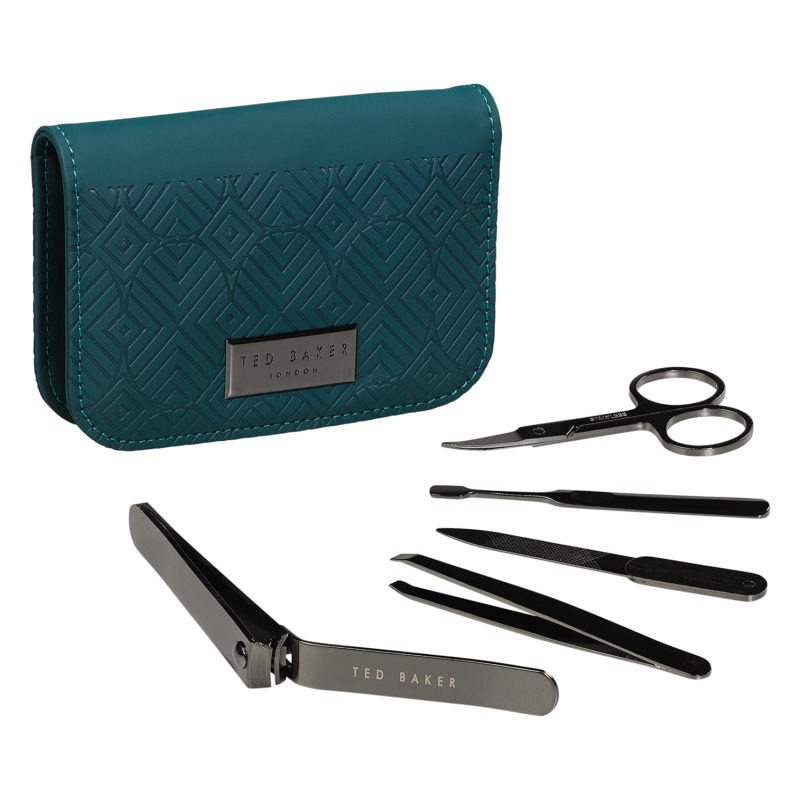 Ted Baker – 5 Piece Manicure Set in Teal Green Zip Around Case