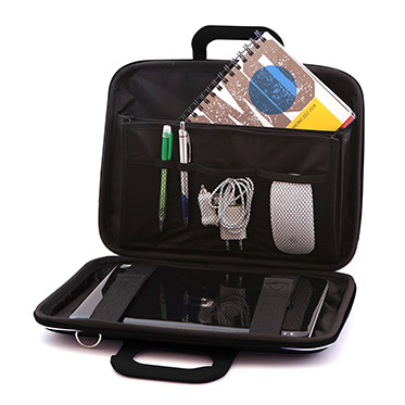 Bombata – Black Medio Cocco 13″ Laptop Case/Bag with Shoulder Strap