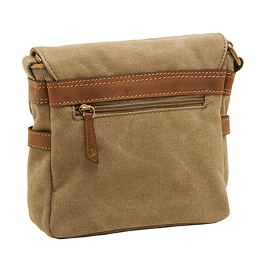 Cactus – Small Cross Body Satchel Messenger Bag in Khaki Canvas
