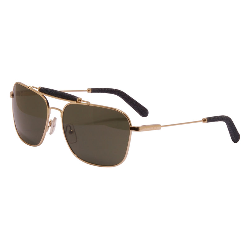 Calvin Klein Jeans CKJ – Gold Aviator Style Sunglasses with Blue Denim Trim
