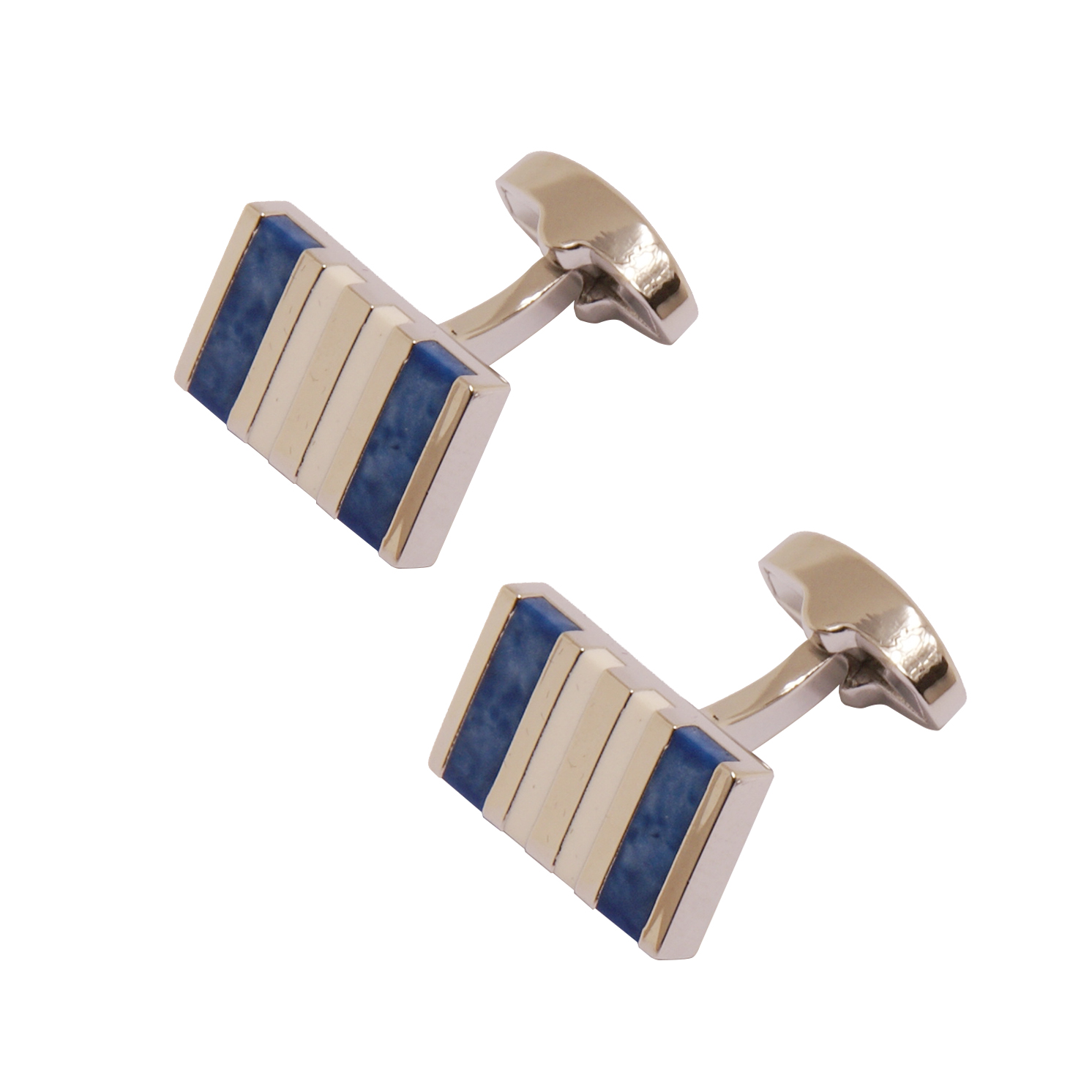 Sophos – Polished Silver with Blue Semi-Precious Stones Cufflinks in Gift Box