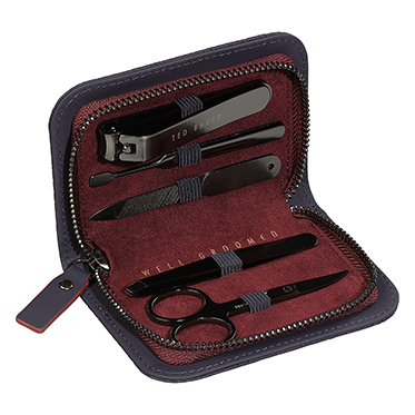 Ted Baker – 5 Piece Manicure Set in Blue Cadet Zip Around Case