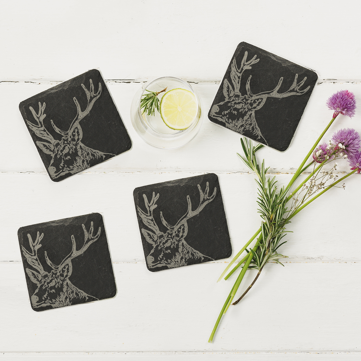 The Just Slate Company – Set of 4 Stag Engraved Natural Slate Coasters