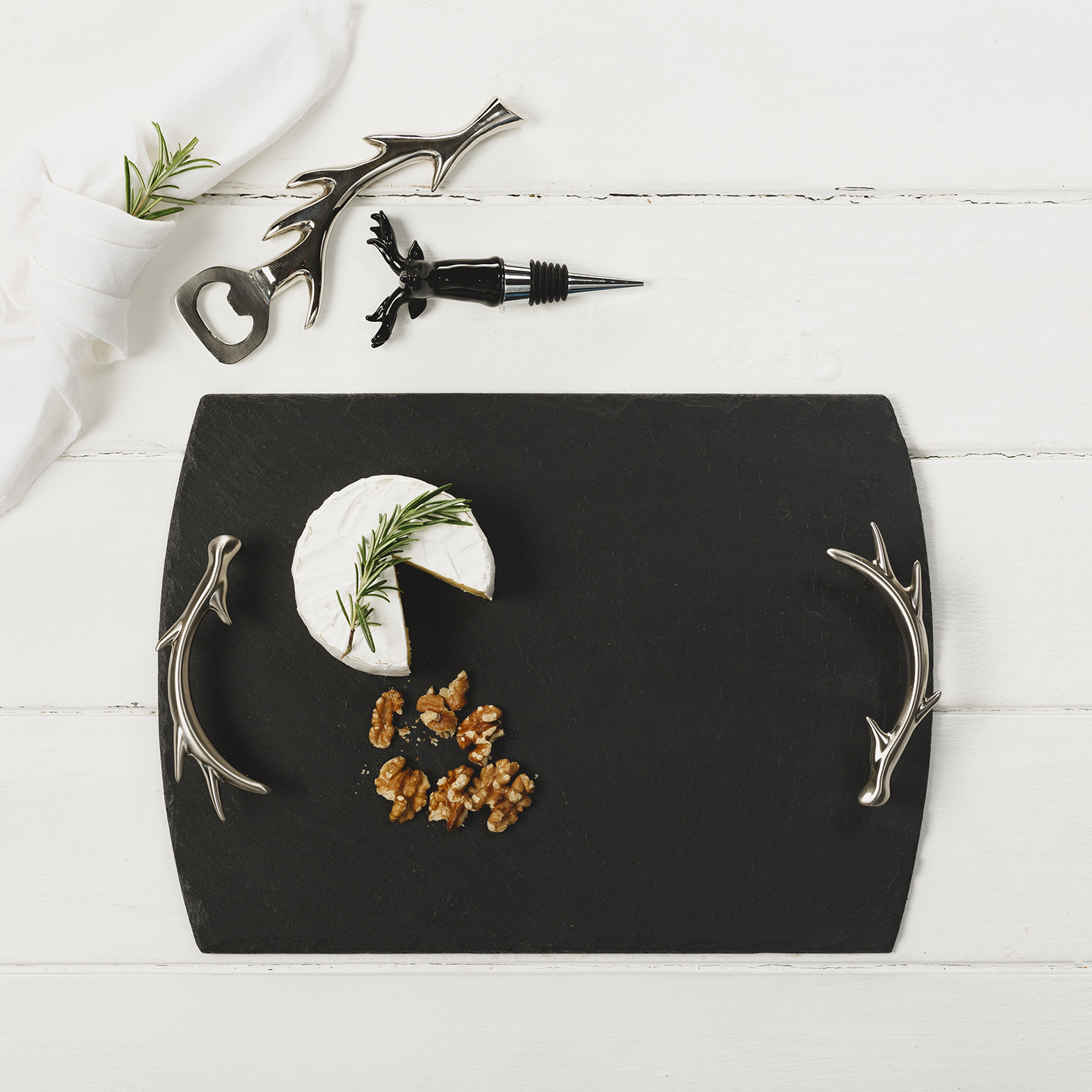 The Just Slate Company – Medium Slate Serving Tray with Antler Handles in Box