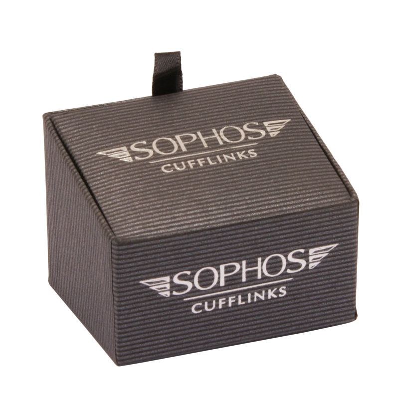 Sophos – Black & White Spot Oval Cufflinks in Gift Box