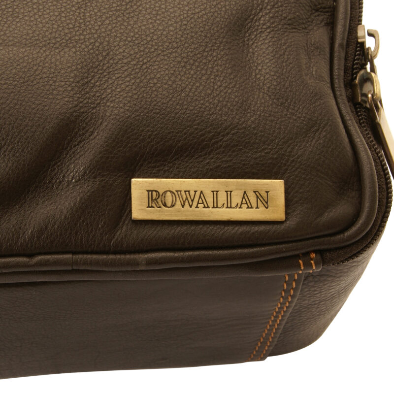 Rowallan – Brown Double Zip Soft Cow Hide Buchanan Leather Wash Bag