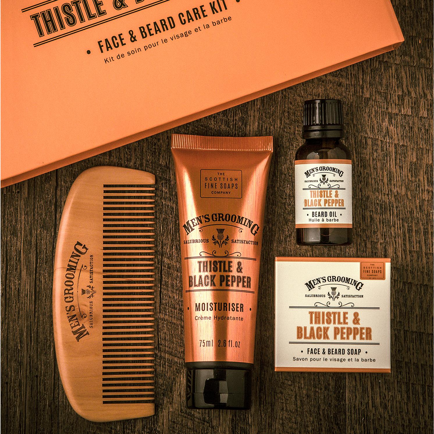 The Scottish Fine Soaps Company – 4 Piece Face & Beard Care Set in Gift Box