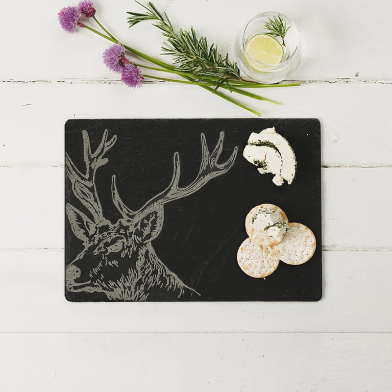 The Just Slate Company – Stag Engraved Rectangular Slate Cheese Board